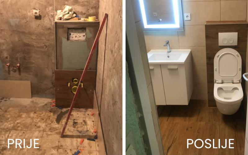 Prije i poslije adaptacije kupaonice